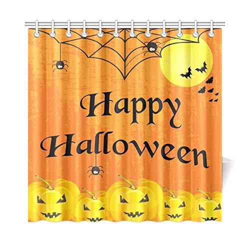 JOCHUAN Wohnkultur Bad Vorhang Halloween Typografische Banner Kalligraphie Scary Elements Polyester Stoff Wasserdicht Duschvorhang Für Badezimmer, 72 X 72 Zoll Duschvorhänge Haken Enthalten