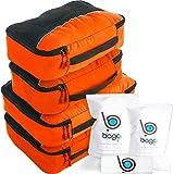Packwürfel 4pcs Wert Set für Reisen - Plus 6pcs Gepäck Veranstalter Zip Beutel (Orange)