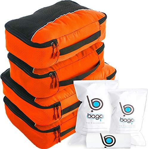 Cubos de Embalaje Valor Establecido para Viajes - 4 Organizador con Documentos Bolsa de protección Naranja