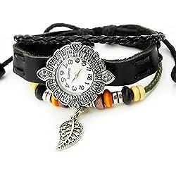 Armbanduhren Quarz Analog Arabisch Ziffern Leder Modeschmuck Uhr Damen rund Blatt Moli 2 Schwarz Geschenk Damen