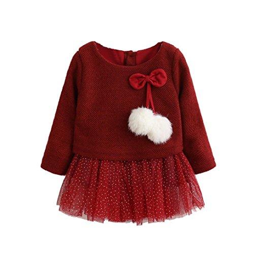 Babykleider Mädchen, Neugeborene Kleinkind Kinder Langarm Knitted Bow Tutu Princess Dress (0/6M, Rot) (Mantel Detail Bow)