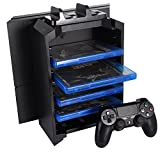 KONKY - PS4 3 en 1 Multifonctions Station, PlayStation 4 / PS4 Slim / PS4 Pro Console Support Stand Vertical & PS4 Contrôleur Dualshock Chargeur & Jeux Vidéo Disque Holder / Blue-Ray Disc Stockage Tower