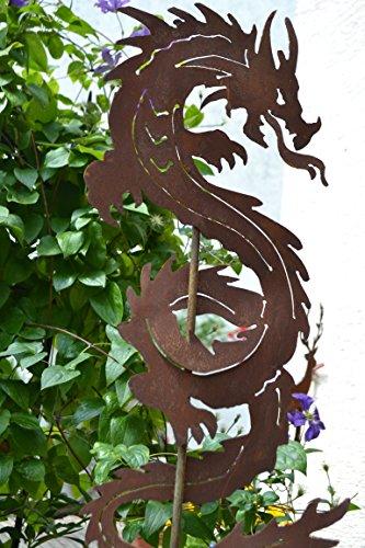 Chinesische Drachen (Gartenstecker chinesischer Drache - außergewöhnlicher Metallstecker - Höhe 120 cm - Fabelwesen Drache-Gartendekoration - sehr gute Qualität)