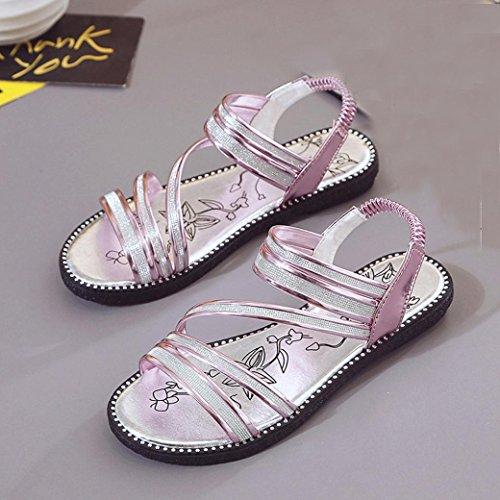 Transer ® Vêtements femme Bandage plat sandales d'été Violet