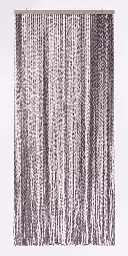 "Pflanzen-Kölle Dekovorhang ""Bead"" in Dunkelgrau aus Polyester, Maße ca. 90 x 200 cm"
