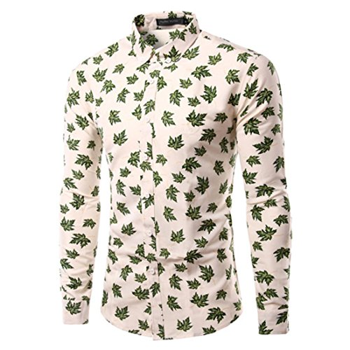 Men's Leaf Printed Cotton Slim Fit Long Sleeve Casual Shirts TU219 Green
