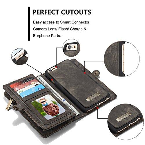 Wkae CaseMe abnehmbare Reißverschluss-Mappen-Leder-Kasten für Apple IPhone 6S 4.7 ( Color : Red ) Black