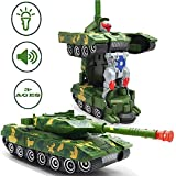 Famous Quality® Deformation Combat Tank Tranfrmer Robot Toy with Light, Music and Bump Function
