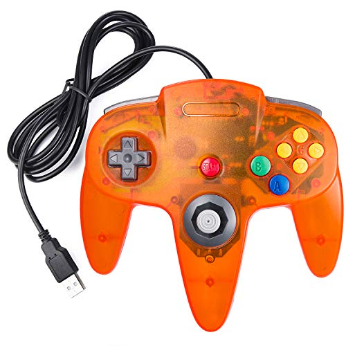 suily N64 Controller Classic Wired USB Game Controller PC Gamepad Joystick für Windows PC Mac Linux Raspberry Pi 3 (Clear Orange) (Orange-nintendo 64 Controller)