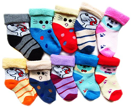 RC. ROYAL CLASS Baby Boy's and Baby Girl's Cotton Socks (Multicolour, 2 - 8 Months) - Set of 10 Pairs