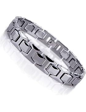 [Gesponsert]Atemberaubendes Solides Wolfram Glieder Armband für Herren im Polierten Pyramiden Stil (Silber, 11mm)