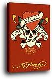 Ed Hardy Poster als Blockbild - Love Kills Slowly, Liebe Tötet Langsam Rot (91 x 61cm)