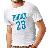 Männer T-Shirt Bronx 23 - Street Style Mode (Medium Weiß Blau)