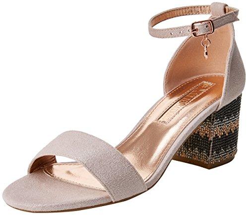 XTI 30702, Zapatos con Tacon y Correa de Tobillo para Mujer, Rosa (Nude), 41 EU