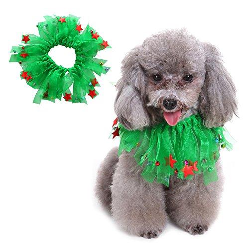 nde Hals Schmuck Halsbänder Halloween Weihnachtsfest Geburtstag Oktoberfest Kostüm Grün mit Stern-Paillette aus Polyester Elastisch & Verstellbar Pet Collar S/M/L (Vorhanden Halloween-kostüm)