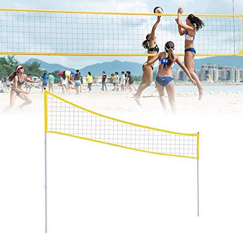 MondayUp Red de Tenis Ajustable para Voleibol, bádminton, Voleibol portátil, Soporte de Red Plegable con Poste de Soporte para Playa, césped, Parque al Aire Libre (3 Alturas)