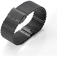 WOSUK correas de reloj 22mm Reloj Banda de reemplazo Metal Inoxidable Acero Correa Pulsera Universal para Huawei Samsung Asus LG R380 R381 R382 correa de reloj W100 W150 W110 WI500Q WI501Q (malla Negro)