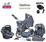 Chilly Kids Matrix II Kinderwagen Safety-Set (Autositz & ISOFIX Basis, Regenschutz, Moskitonetz, Schwenkräder) 03 Kreise Weiß & Grafit