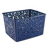 Interdesign 59238EU Blumz Panier de Rangement pour Cuisine/Salle de Bain de Bureau/Garage Plastique Bleu 25,4 x 9,46 x 14,22 cm