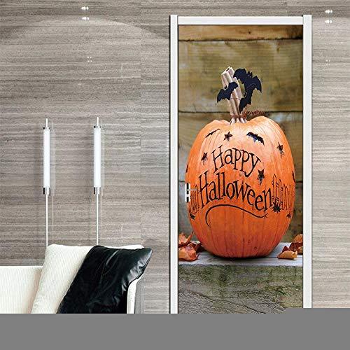 DNFurniture 3D Tür Aufkleber Kürbis schnitzen 80X200CM Kunst tapete Illustration dreidimensional Aufkleber Landschaft DIY selbstklebend Dekoration wandaufkleber visuell wandbild (Schnitzen Muster Un-halloween-kürbis)