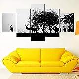 ZTTPCP Cadre 100 * 55cm 5 pièces HD Prints Mur de Toile Art Salon Décor à la Maison Images Silhouette Noire d'un Chasseur et d'un Chien dans la forêt Affiches...