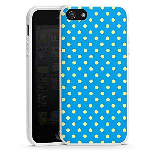 Apple iPhone 5s Housse Étui Protection Coque Petits points Bleu Bleu Housse en silicone blanc