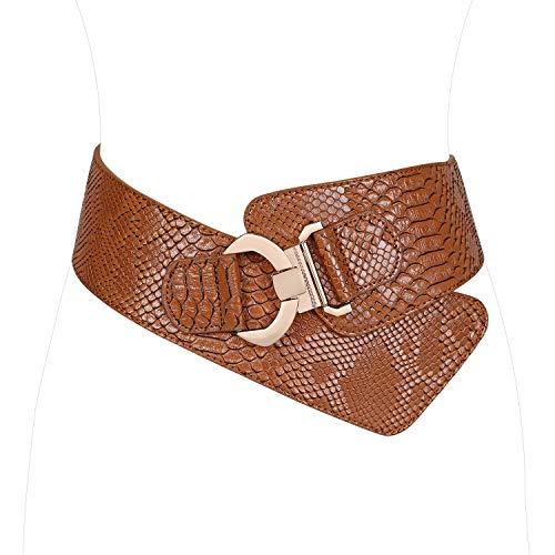 JasGood - Cinturón elástico para mujer, diseño de serpiente, cintura ajustable Marrón marrón Suit Waist 33-38 inch