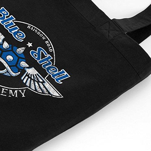 style3 Blue Shell - Flight Academy Biobaumwolle Beutel Jutebeutel Tasche Tote Bag, Farbe:Blau Schwarz