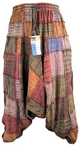 Little Kathmandu da uomo cotone Patch ruggine antico Aladdin gamba larga pantaloni Harem Genie Ninja Thin Patch Harem S/M