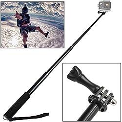 UMCORP monopiede selfie bastone tenuto in mano allungabile Palo con supporto per il Gopro Eroe 4, Session, nero, argento, Eroe + LCD, 3+, 3, 2, 1, Sj4000 e Sj5000 Telecamere / Smartphone, nero