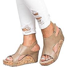 Sandalias Mujer Cuña Alpargatas Plataforma Bohemias Romanas Mares Playa  Gladiador Verano Tacon Planas Zapatos Zapatillas Beige 4d7ebd739631