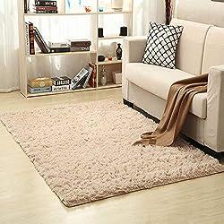 Tapis épais lavable en machine - Tapis antidérapant - Tapis pour chambre d'enfant - 120 x 160 cm Langes haariges Kamel