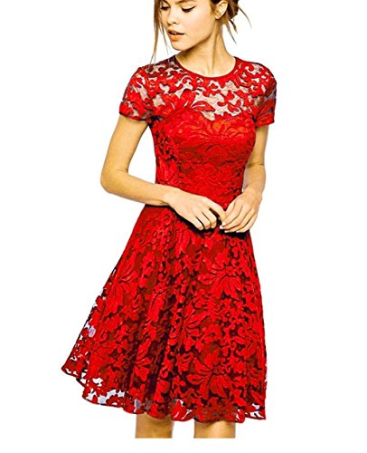 Measoul® Damen Rundhals Kurzarm Pleated Spitze Lace Party Cocktail Bodycon Club Kurz Abend Kleider (Lace Mini Spitze)