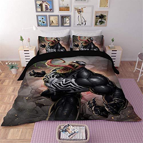 CXDM 3-teiliges Bettwäscheset 100% Polyester Deko-Bettgarnitur 3D Venom Marvel Kinder-Cartoon-Bettwäsche-Sets (1 Bettbezug + 2 Kissenbezüge),Queen