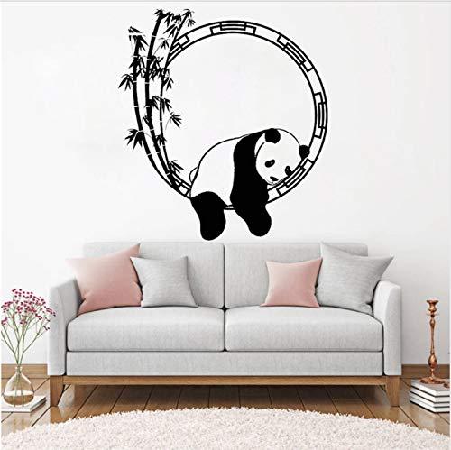 JXSTORE Wandaufkleber für Schlafzimmer Wohnzimmer Mädchen Junge Küche - Lustiger Tierpanda-Bambus (Zu Lustige Halloween-karten Drucken)