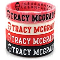 Lorh's store Basketball Tracy McGrady Porträt Armband Silikon Inspirierende Wort Sport Schweißbänder 4 Pcs