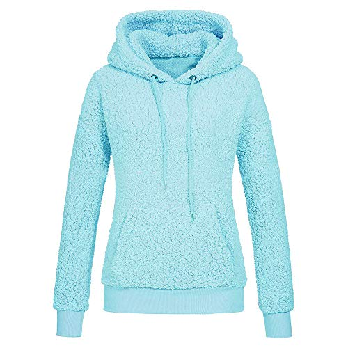 66c23571456a7 Clearance KEERADS Women s Sweatshirts Fleece Pullover Hoodie Warm Winter  Faux Fur Coat Jacket(Blue