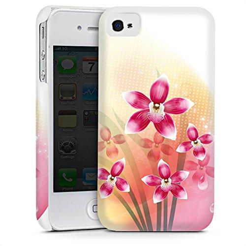 Apple iPhone 4 Housse Étui Silicone Coque Protection Orchidée Papillon Fleur Cas Premium mat