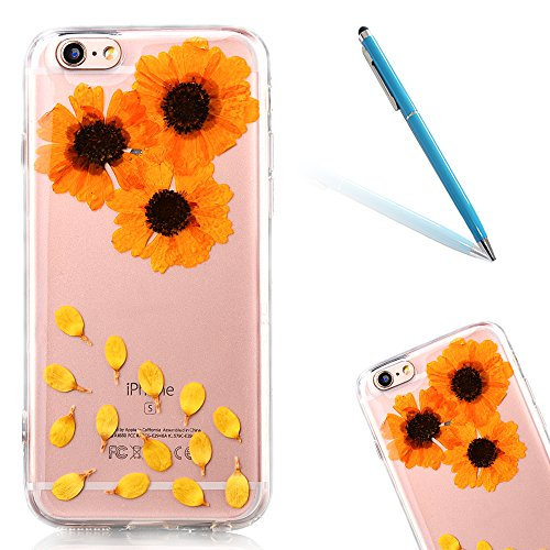 Elegante Custodia per Apple iPhone 6/6s 4.7(NON iPhone 6Plus/6sPlus 5.5), CLTPY Flexible Case in Pressed Reale Fiore Natura Bella Clear View Ultra Slim Morbida Gomma Gel, Particolari Fantasia Lusso  Fiore 16