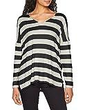 ONLY Damen Onlmaye L/S Stripe Vneck Pullover CC KNT, Mehrfarbig (Light Grey Melange Stripes: W. Black),36 (Herstellergröße: S)