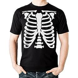 NEUVO - ESQUELETO - Hombre Camiseta Negro - T-Shirt Halloween Disfraz Regalo (XX-Large)
