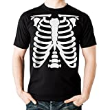 NEUVO - ESQUELETO - Hombre Camiseta Negro - T-Shirt Halloween Disfraz Regalo (Small)