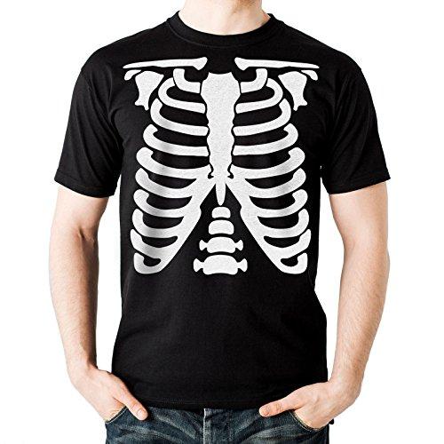 NEU - SKELETT - Herren Schwarz T-Shirt - Halloween Verrücktes Kleid Geschenk (Medium)