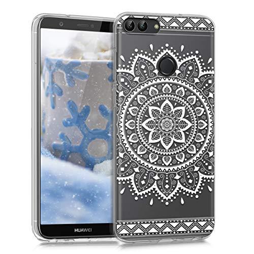 kwmobile Funda para Huawei Enjoy 7S / P Smart - Carcasa de [TPU] para móvil y diseño de Flor Azteca en [Blanco/Transparente]