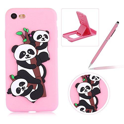 Coque iPhone 7 Silicone, Herzzer Mignon 3D Panda Motif Design Étui Housse de Protection pour iPhone 8 Soft Doux TPU Gel Backcover Ultra Mince Léger Flexible Téléphone Portable pour iPhone 7/ iPhone 8 (4,7 Pouces) -- Rose