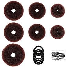 TsMADDTs - Ciambelle per fare lo chignon ai capelli, set di ciambelle per chignon (1extra-large, 2grandi, 2medie e 2piccole), 5fasce elastiche per capelli, 20forcine per capelli, marrone scuro