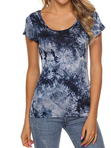 AMORETU Damen T-Shirt Tie Dye Batik Shirt Rundhals Oberteile Tunika Oberteile, 2-marineblau, XL/DE 44-46 - Tie-dye-tunika