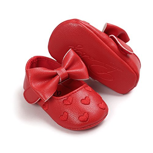 Scarpe per bambini Auxma Bowknot scarpe di cuoio ragazza scivolare morbide pantofole bambino singolo 3-18 mesi Rosso
