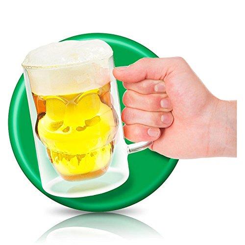 4 x boccale da birra boccale da birra in vetro TESCHIO Skull birra Vetro Teschio 13 cm
