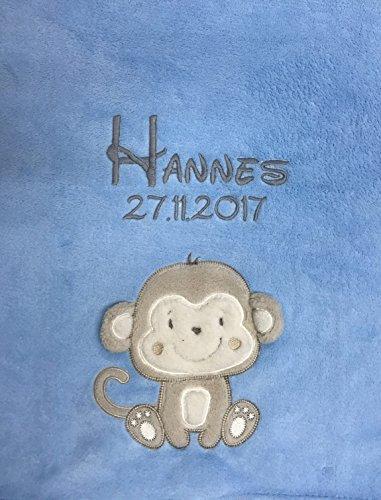 Babydecke bestickt mit Name und Geburtsdatum / kuschelig weich / 1A Qualität (Hellblau - ÄFFCHEN)